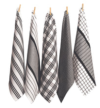 Load image into Gallery viewer, RANS Milan Tea Towels 5 Piece Set Check & Stripe Designs