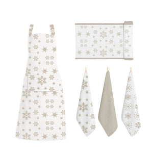 RANS Christmas Snow Flake Aprons With Pocket - 70 cm x 90 cm