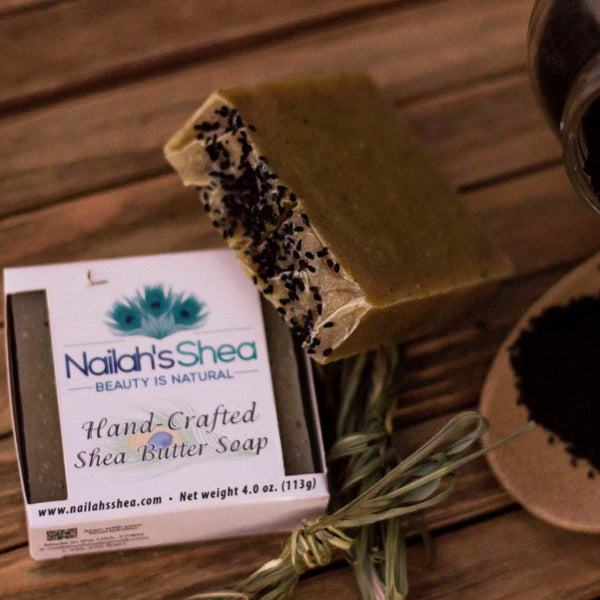 Black Seed and Lemongrass Shea Butter Soap - Shea Butter Soap Hand-Crafted - Men - Nailah's Shea
