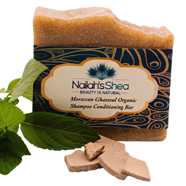Moroccan Ghassoul Clay Shampoo Conditioning Bar - Shea Butter Soap Hand-Crafted - Men - Nailah's Shea
