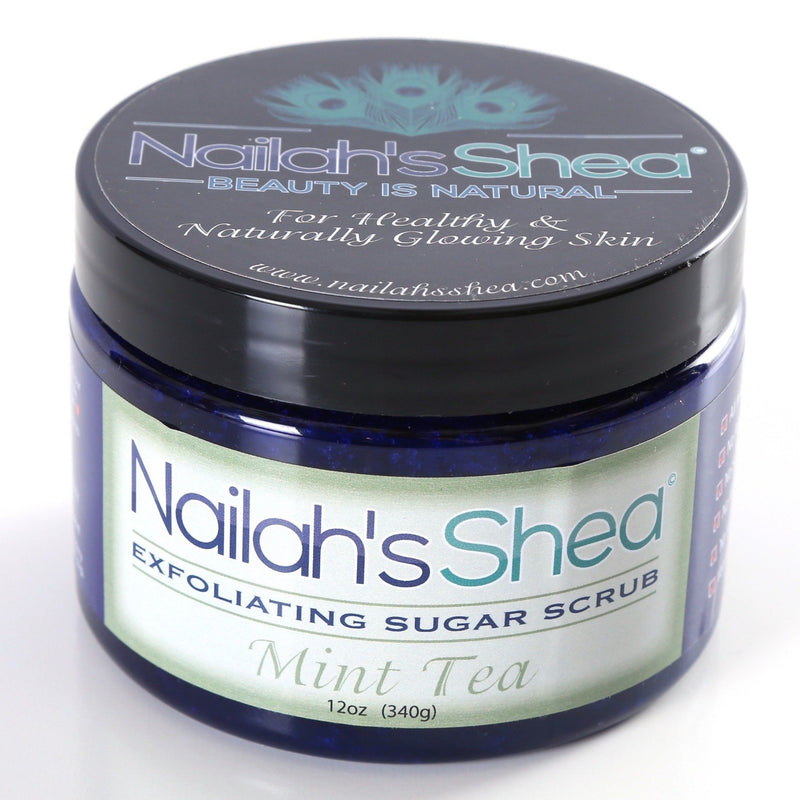 Nailah's Shea Mint Tea Exfoliating Sugar Scrub - Exfoliating Shea Sugar Scrubs - Men - Nailah's Shea