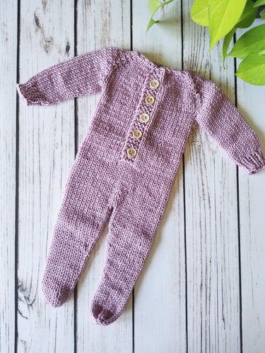 Button-Front Newborn Footed Prop Outfit, Superwash Merino