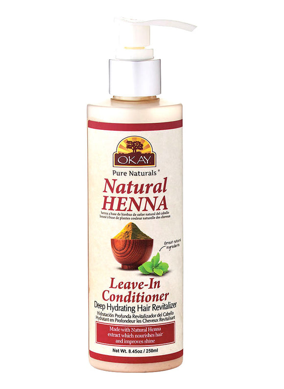 okay Natural Henna Leave In Conditioner - Helps Refresh, Revitalize, And Add Softness To Hair - Sulfate, Silicone, Paraben Free For All Hair Types and Textures - Made in USA 8.45oz (250ml)