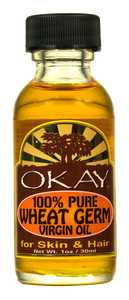 OKAY.Wheat Germ Virgin Oil 100% Pure for Hair & Skin-Nourishing For Skin & Hair-High in vitamins A, B, D E, And Anti-Oxidants -Helps Decrease Hair Thinning- For All Hair Textures And All Skin Types- Silicone, Paraben Free - Made in USA 1oz / 30ml