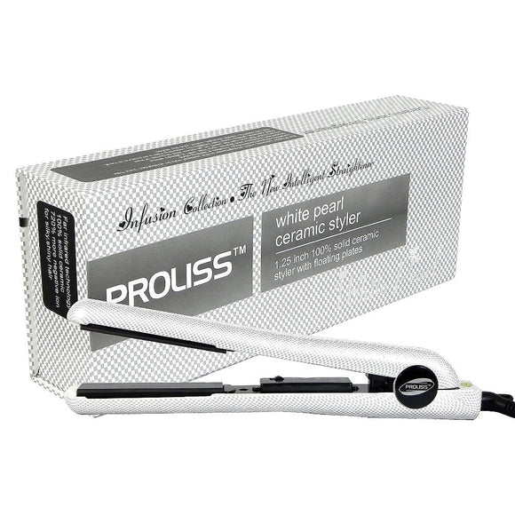 PROLISS FLAT IRON  WITTE PEARL CERAMIC STYLER 1.25 INCH 100%SOLID CERAMIC STYLE WITH FLOATING PLATES