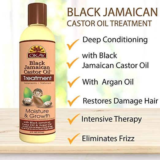 OKAY Black Jamaican Castor Oil Moisture Growth Treatment 8oz