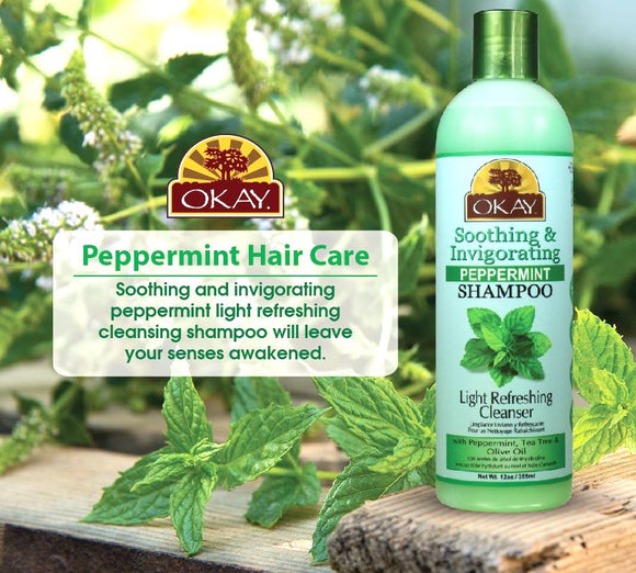 OKAY Soothing And Invigorating Peppermint Shampoo - Helps Refresh, Revitalize, And Add Softness To Hair - Sulfate, Silicone, Paraben Free For All Hair Types and Textures - Made in USA 12oz