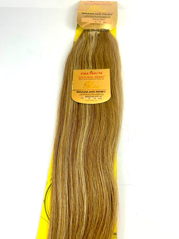 WEFT .HAIR EXTENSIONS .PREMIUM NATURAL .BRAZILIAN REMY 24 INCH .8 .10 .# 613