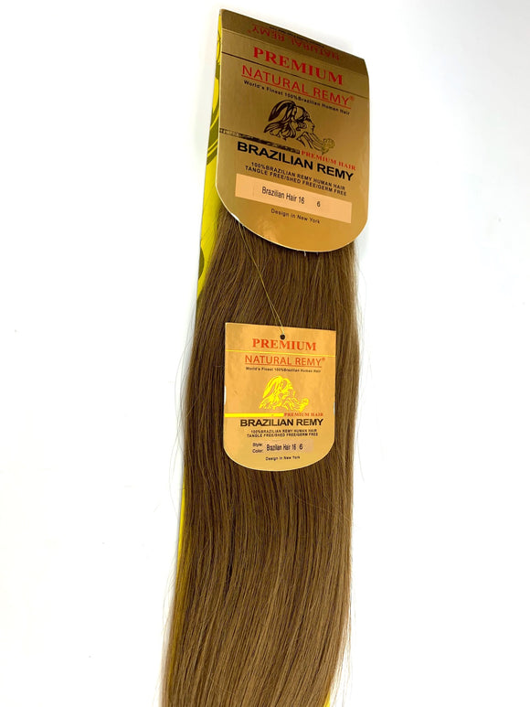 WEFT .PREMIUM NATURAL REMY HAIRB EXTENSION 100% BRAZILIAN REMY HUMAN HAIR . 16 INCH. #6                 .STRAIGHT