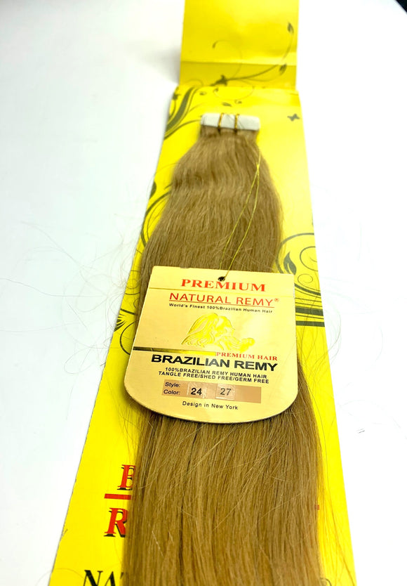 tape IN .HAIR EXTENSIONS .PREMIUM NATURAL .BRAZILIAN REMY 24 INCH  # 27 wavy  )