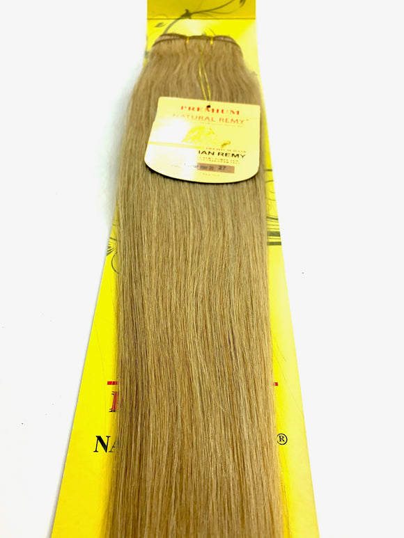 WEFT . HAIR EXTENSIONS .PREMIUM NATURAL .BRAZILIAN REMY 20.INCH # 27. 100% HUMAN HAIR BRAZILIAN PREMY HAIR . NATURAL REMY