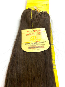 MICRO BEAD. .PREMIUM NATURAL REMY 100% BRAZILIAN HUMAN HAIR   TANGLE FREE/SHED FREE/GERM FREE .20 .INCH # 2.