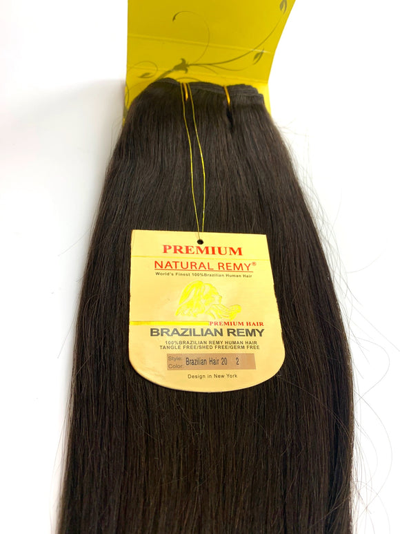 WEFT ..PREMIUM NATURAL REMY 100% BRAZILIAN HUMAN HAIR TANGLE FREE/SHED FREE/GERM FREE .20 .INCH # 2.