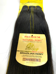 WEFT.PREMIUM NATURAL REMY 100% BRAZILIAN HUMAN HAIR TANGLE FREE/SHED FREE/GERM FREE .18.INCH # 1B