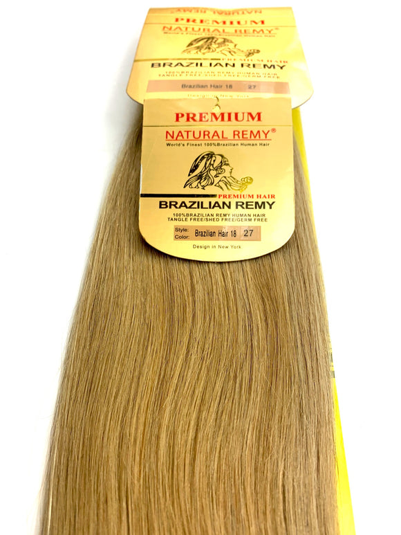 WEFT.PREMIUM NATURAL REMY 100% BRAZILIAN HUMAN HAIR TANGLE FREE/SHED FREE/GERM FREE .18.INCH # 27.