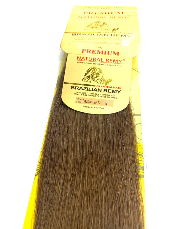 WEFT.PREMIUM NATURAL REMY 100% BRAZILIAN HUMAN HAIR TANGLE FREE/SHED FREE/GERM FREE .22.INCH # 8.