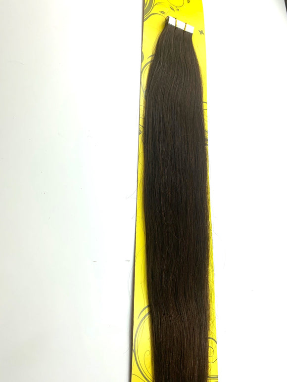 TAPE IN..PREMIUM NATURAL REMY 100% BRAZILIAN HUMAN HAIR TANGLE FREE/SHED FREE/GERM FREE .24.INCH # 2. 20 .PICS