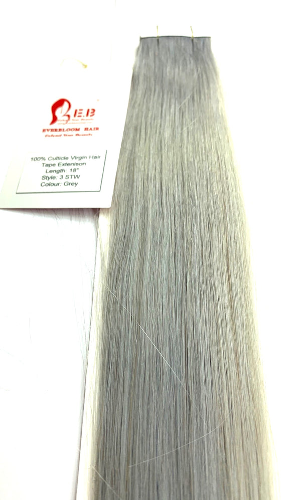 TAPE IN .E.B .HAIR EXTENSIONS 100%CULTICLE VERGIN HAIR .LENGHT 18 -INCH STYLE-3 STW.COLOR GREY -10 . PICS-