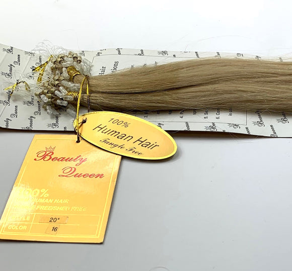 BEAUTY QUEEN.MAGIC RING LOOP EUROPEAN HAIR EXTENSIONS .REMI (STRAIGHT)20 INCH. #16.