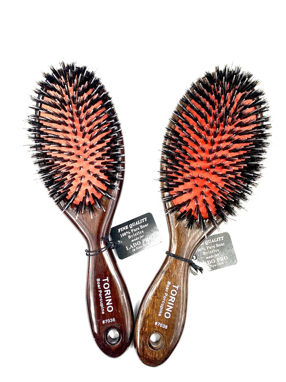 LADO EXTENSION BRUSHES.DARK BROWN, WOOD, BOAR, NYLON BRISTLES WITH BALLTIPS