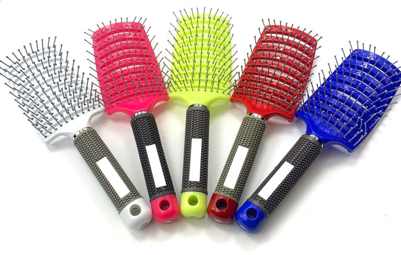 Curved Vent Brush, Barber Blow Drying Brush with Nylon Detangling Pins Brush for Hairdressing Salon