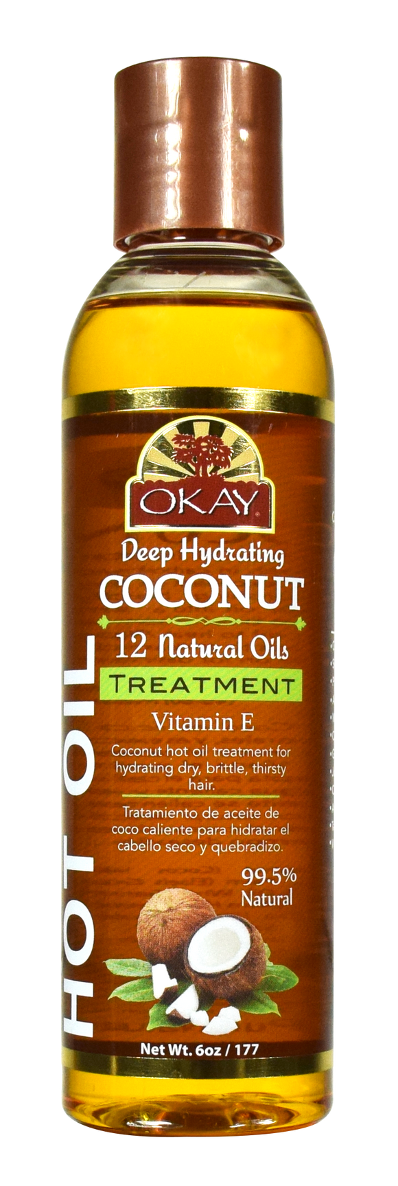 OKAY Coconut Hot Oil Treatment Deep Hydrating - Conditioning And Nourishing - Prevents Breakage- Restores Hair - Smoothes Cuticle-Improves Hair Appearance- Silicone, Paraben Free For All Hair Types and Textures - Made in USA 6oz / 177ml