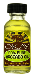 OKAY Avocado Oil 100% Pure for Hair & Skin-High In Nutrients- Vitamins A, B, D and E- Helps Hair & Skin Lock In Moisture-Prevents Aging Of Skin -For All Hair Textures And All Skin Types- Silicone, Paraben Free - Made in USA 1oz / 30ml
