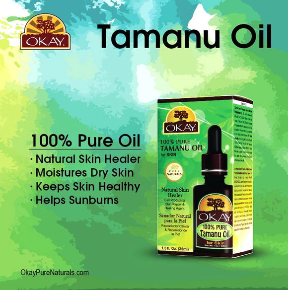 okay .Tamanu Oil 100% Pure Naturals-Natural Skin Healer - Non Comedogenic -Cell Producing Skin Repair & Healing- Treats Skin Irritations & Inflammations- For All Hair Textures And All Skin Types- Silicone, Paraben Free - Made in USA 1oz / 30ml