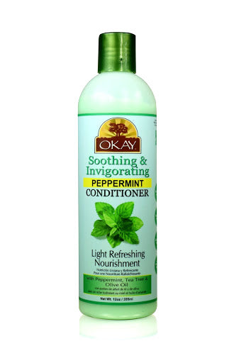 OKAY Soothing And Invigorating Peppermint Conditioner - Helps Refresh, Revitalize, And Add Softness To Hair - Sulfate, Silicone, Paraben Free For All Hair Types and Textures - Made in USA 12oz 355ml