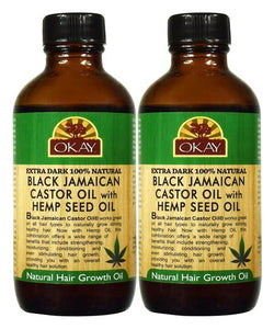 OKAY Extra Dark 100% Natural Black Jamaican Castor Oil with Hemp Seed Oil 4 oz