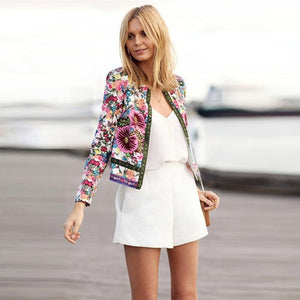 2019 Women Jackets Bohemian Floral Embroidery Collarless Outwear Long Sleeve Print Patchwork Jacket Coat Clothes