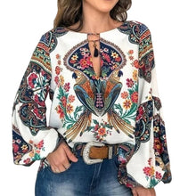 Load image into Gallery viewer, 2019 Casual Vintage Shirt Blouse Women Floral Printed Lantern Sleeve Plus Size Women Tops And Blouse V Neck Blusas Mujer De Moda