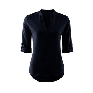 Ladies Office Blouse Wear to Work  Women Shirts Fashion Summer Loose Solid Color Casual Tops Femme Shirt