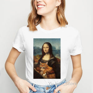 ropa mujer 2019 Mona Lisa and her cat painting tshirt women plus size vogue funny t shirts femme summer tops female t-shirt
