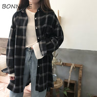 Women New Shirts Casual Plaid All-match Loose Long Sleeve Students Daily BF Ulzzang Single Breasted Womens Korean Style Harajuku