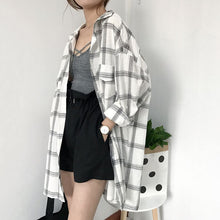 Load image into Gallery viewer, Women New Shirts Casual Plaid All-match Loose Long Sleeve Students Daily BF Ulzzang Single Breasted Womens Korean Style Harajuku