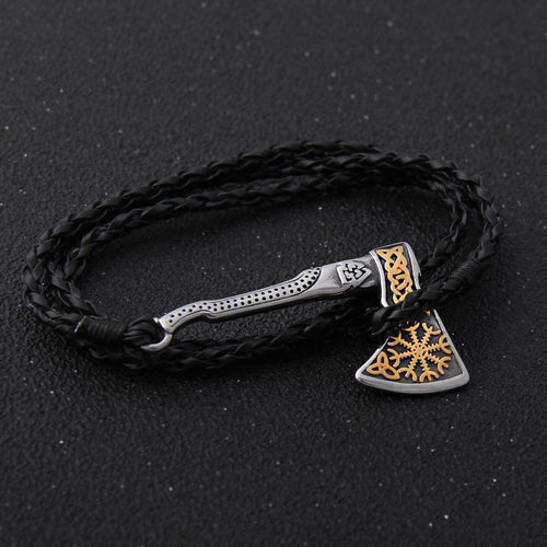 Gold Helm Axe Bracelet - Viking Valor