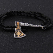 Load image into Gallery viewer, Gold Helm Axe Bracelet - Viking Valor