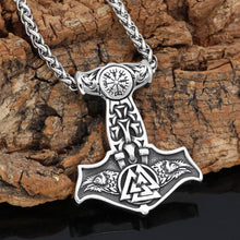 Load image into Gallery viewer, Ravens of Odin Mjolnir Necklace