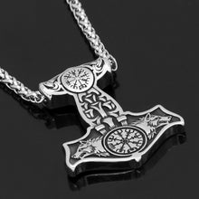 Load image into Gallery viewer, Wolves of Odin Mjolnir Necklace
