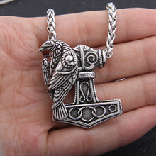 Load image into Gallery viewer, Mjolnir Raven Norse Pendant