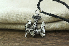 Load image into Gallery viewer, Mjolnir Wolf and Raven Necklace