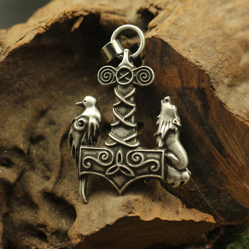 Mjolnir Wolf and Raven Necklace