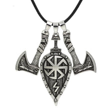 Load image into Gallery viewer, Viking Axe and Shield Necklace