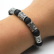 Load image into Gallery viewer, Viking Lava Stone Rune Bracelet