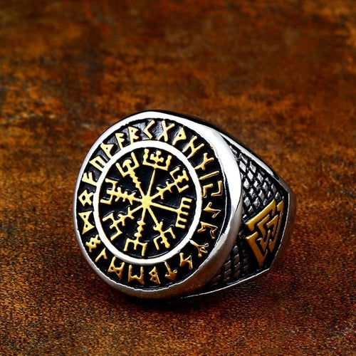 Premium Golden Vegvisir Ring