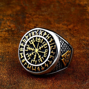 Premium Golden Vegvisir Ring - Viking Valor