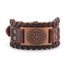 Load image into Gallery viewer, Vegvisir Leather Bracelet - Viking Valor