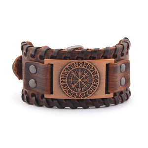 Vegvisir Leather Bracelet - Viking Valor