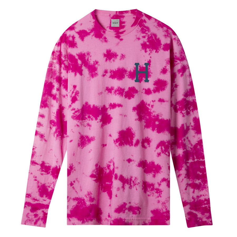 HUF - CLASSIC H WATERCOLOR L/S TEE - PINK FRONT